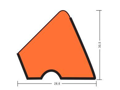 Резина для бортов Пирамида U118 180см 12Фт 6шт (красная)
